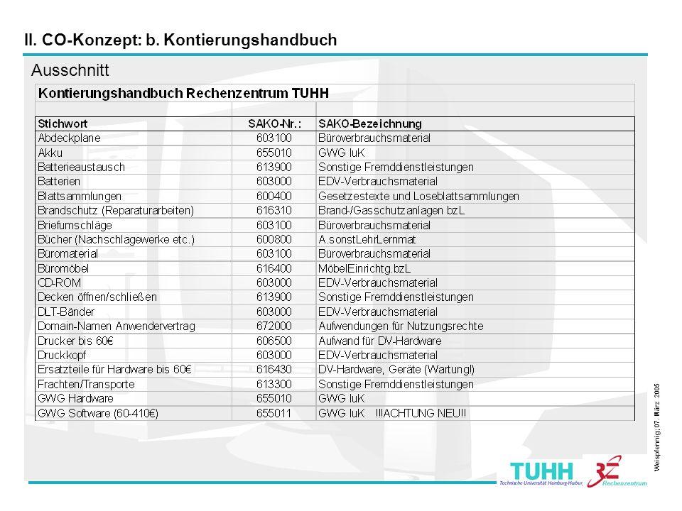 8 II. CO-Konzept: b. Kontierungshandbuch Ausschnitt Weispfennig; 07. März 2005