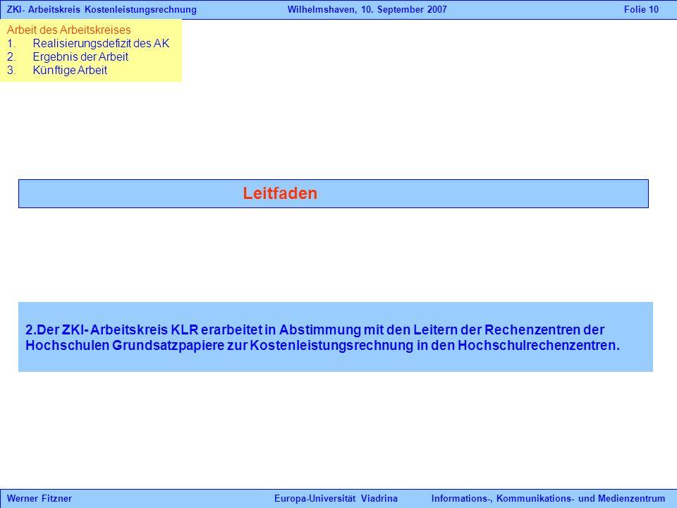 Leitfaden 2.Der ZKI- Arbeitskreis KLR erarbeitet in Abstimmung mit den Leitern der Rechenzentren der Hochschulen Grundsatzpapiere zur Kostenleistungsrechnung in den Hochschulrechenzentren.