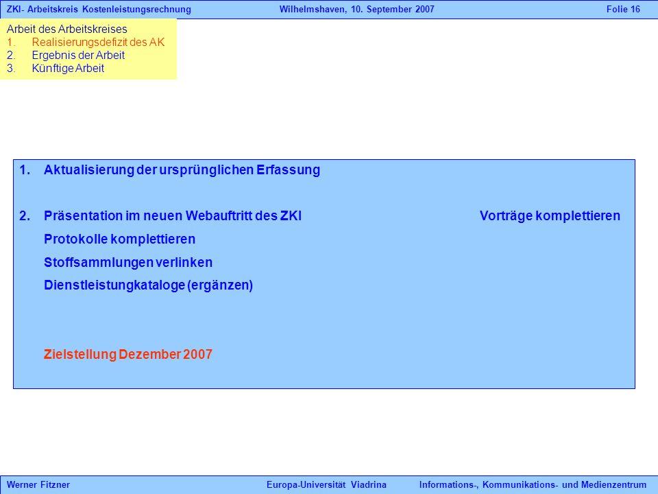 1.Aktualisierung der ursprünglichen Erfassung 2.Präsentation im neuen Webauftritt des ZKIVorträge komplettieren Protokolle komplettieren Stoffsammlung