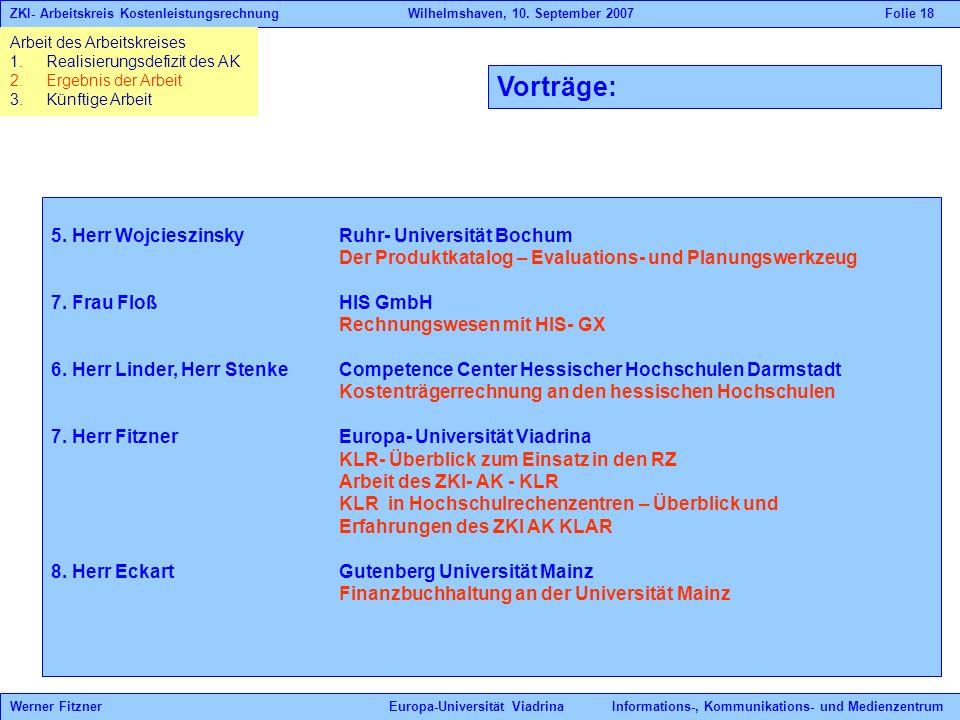 Vorträge: 5. Herr WojcieszinskyRuhr- Universität Bochum Der Produktkatalog – Evaluations- und Planungswerkzeug 7. Frau FloßHIS GmbH Rechnungswesen mit