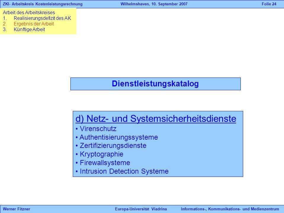 Dienstleistungskatalog d) Netz- und Systemsicherheitsdienste Virenschutz Authentisierungssysteme Zertifizierungsdienste Kryptographie Firewallsysteme