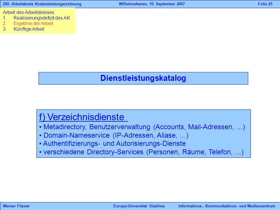 Dienstleistungskatalog f) Verzeichnisdienste Metadirectory, Benutzerverwaltung (Accounts, Mail-Adressen,...) Domain-Nameservice (IP-Adressen, Aliase,.