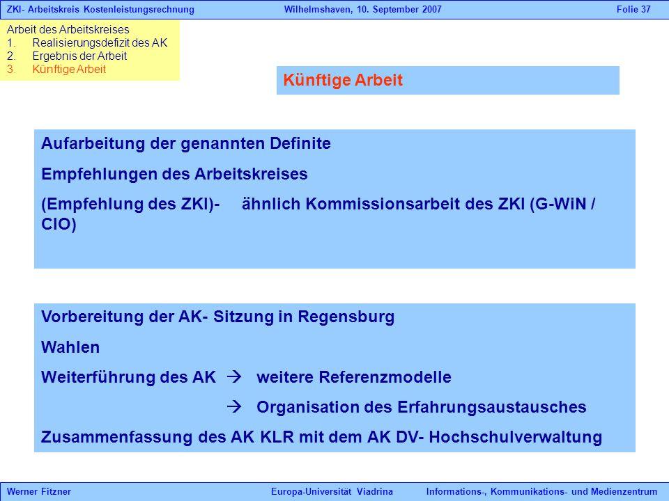 Arbeit des Arbeitskreises 1.Realisierungsdefizit des AK 2.Ergebnis der Arbeit 3.Künftige Arbeit ZKI- Arbeitskreis Kostenleistungsrechnung Wilhelmshave