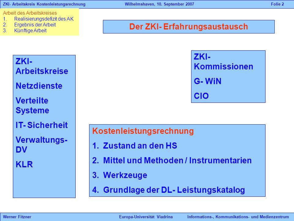 Der ZKI- Erfahrungsaustausch ZKI- Arbeitskreise Netzdienste Verteilte Systeme IT- Sicherheit Verwaltungs- DV KLR ZKI- Kommissionen G- WiN CIO Kostenle