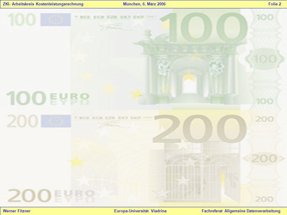 Werner Fitzner Europa-Universität Viadrina Fachreferat Allgemeine Datenverarbeitung ZKI- Arbeitskreis Kostenleistungsrechnung München, 6. März 2006 Fo