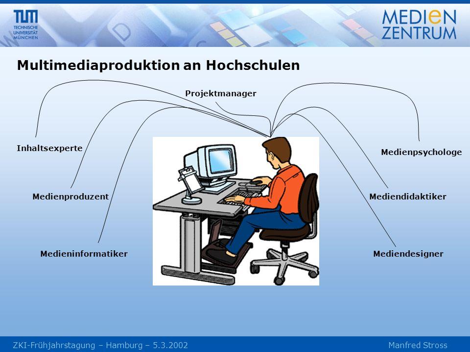 Projektmanager Inhaltsexperte Mediendidaktiker Mediendesigner Medienproduzent Medieninformatiker Medienpsychologe Multimediaproduktion an Hochschulen
