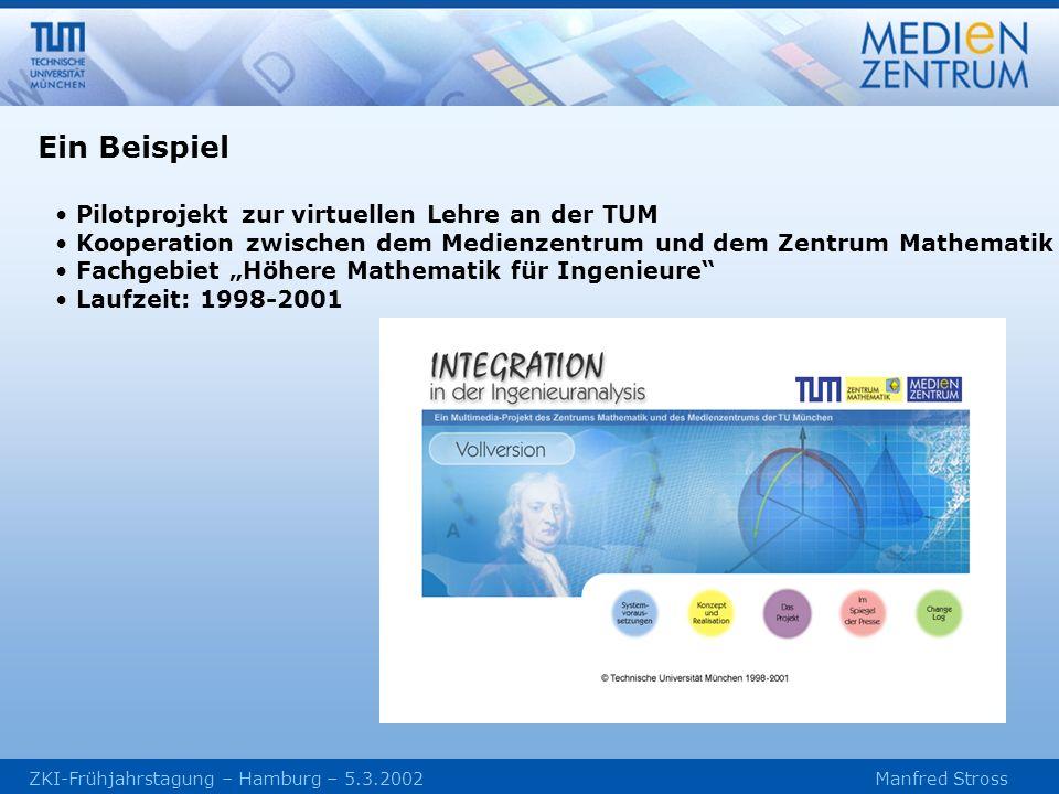 ZKI-Frühjahrstagung – Hamburg – 5.3.2002 Manfred Stross Pilotprojekt zur virtuellen Lehre an der TUM Kooperation zwischen dem Medienzentrum und dem Zentrum Mathematik Fachgebiet Höhere Mathematik für Ingenieure Laufzeit: 1998-2001 Ein Beispiel