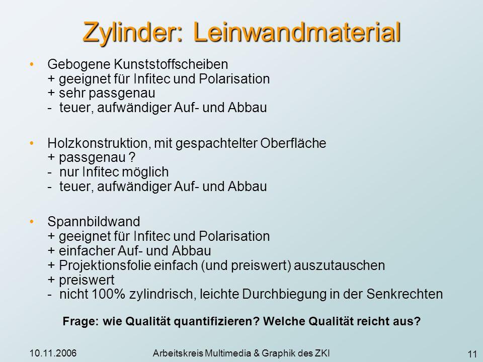 11 10.11.2006Arbeitskreis Multimedia & Graphik des ZKI Zylinder: Leinwandmaterial Gebogene Kunststoffscheiben + geeignet für Infitec und Polarisation
