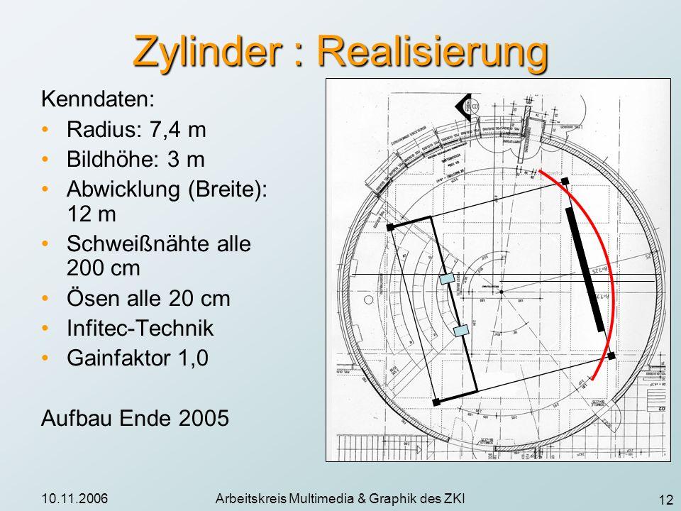 12 10.11.2006Arbeitskreis Multimedia & Graphik des ZKI Zylinder : Realisierung Kenndaten: Radius: 7,4 m Bildhöhe: 3 m Abwicklung (Breite): 12 m Schwei