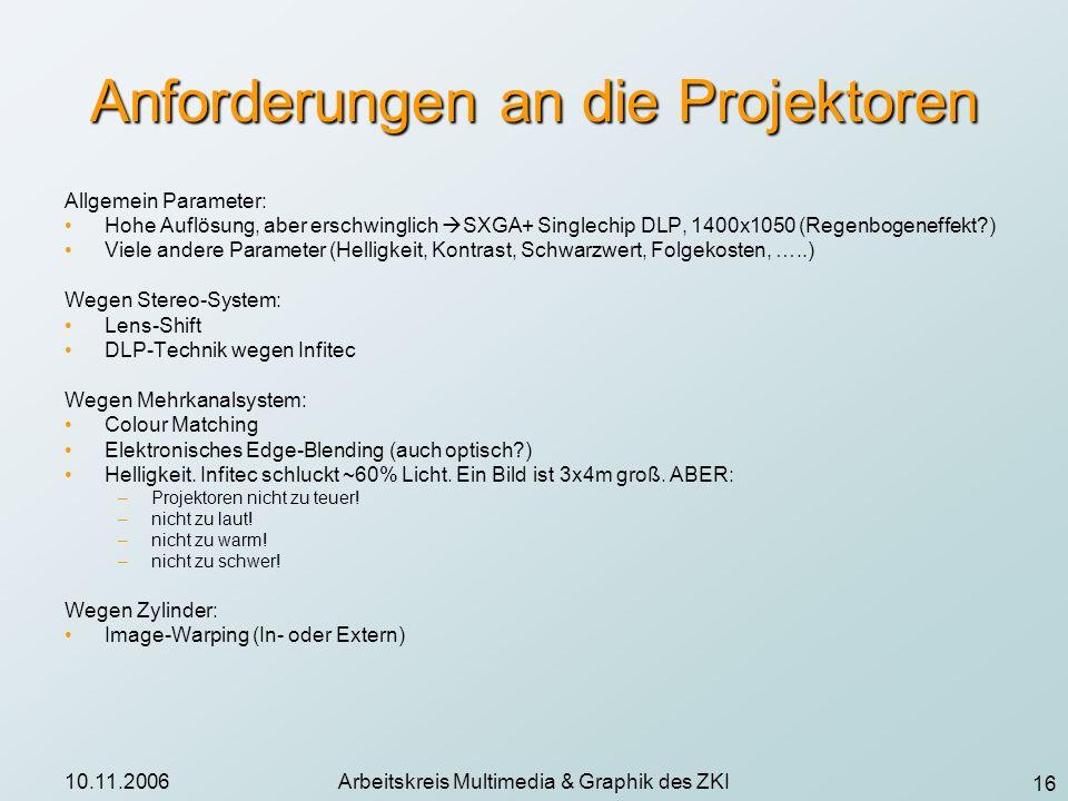 16 10.11.2006Arbeitskreis Multimedia & Graphik des ZKI Anforderungen an die Projektoren Allgemein Parameter: Hohe Auflösung, aber erschwinglich SXGA+