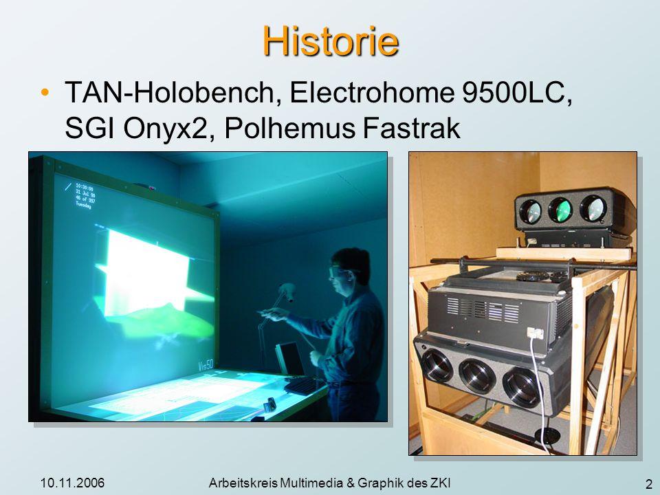 3 10.11.2006Arbeitskreis Multimedia & Graphik des ZKI Holobench: Einsatzgebiete Datenanalyse: (+) gut möglich für 2-3 Personen, 3D-Interaktion durch Tracking-System, wenig immersiv Präsentationen: (o) nur kleine Gruppen, max.