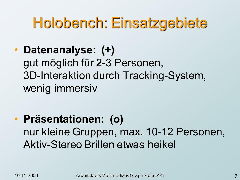 3 10.11.2006Arbeitskreis Multimedia & Graphik des ZKI Holobench: Einsatzgebiete Datenanalyse: (+) gut möglich für 2-3 Personen, 3D-Interaktion durch T