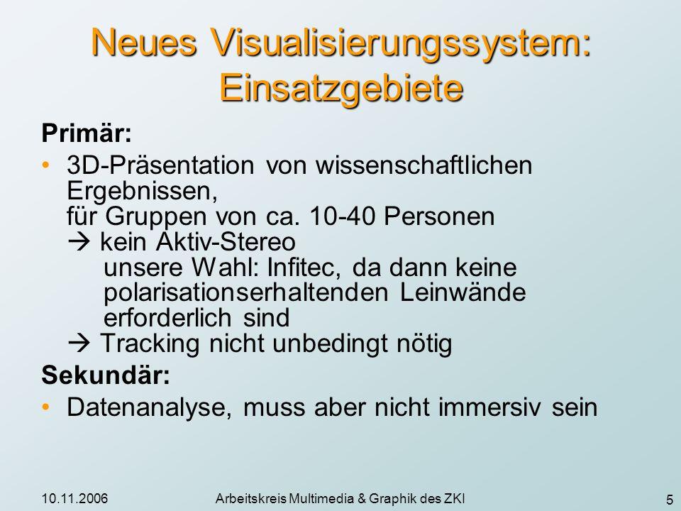 5 10.11.2006Arbeitskreis Multimedia & Graphik des ZKI Neues Visualisierungssystem: Einsatzgebiete Primär: 3D-Präsentation von wissenschaftlichen Ergeb