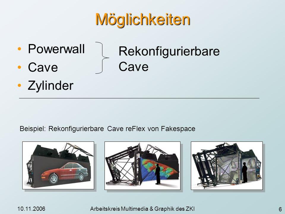 6 10.11.2006Arbeitskreis Multimedia & Graphik des ZKI Möglichkeiten Powerwall Cave Zylinder Rekonfigurierbare Cave Beispiel: Rekonfigurierbare Cave re