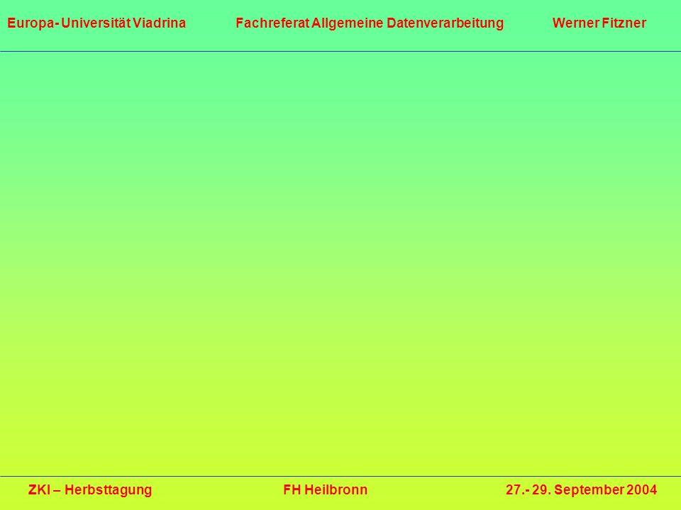 ZKI – Herbsttagung FH Heilbronn 27.- 29. September 2004 Europa- Universität Viadrina Fachreferat Allgemeine Datenverarbeitung Werner Fitzner