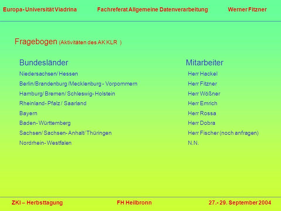 Fragebogen (Aktivitäten des AK KLR ) Bundesländer Mitarbeiter Niedersachsen/ HessenHerr Hackel Berlin/Brandenburg /Mecklenburg - VorpommernHerr Fitzne
