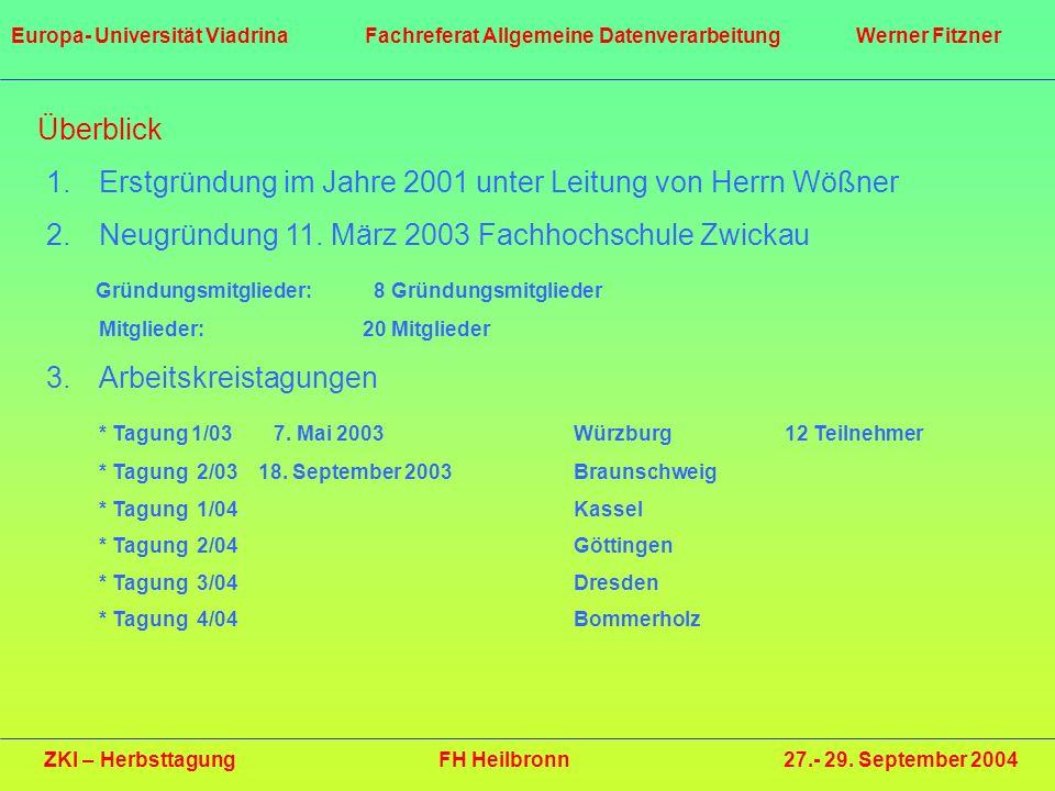 Überblick 1.Erstgründung im Jahre 2001 unter Leitung von Herrn Wößner 2.Neugründung 11. März 2003 Fachhochschule Zwickau Gründungsmitglieder: 8 Gründu