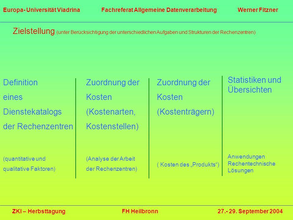 Zielstellung (unter Berücksichtigung der unterschiedlichen Aufgaben und Strukturen der Rechenzentren) Definition eines Dienstekatalogs der Rechenzentr