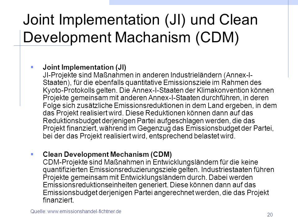 20 Joint Implementation (JI) und Clean Development Machanism (CDM) Joint Implementation (JI) JI-Projekte sind Maßnahmen in anderen Industrieländern (A