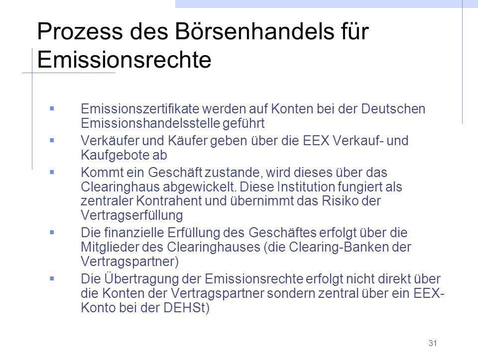31 Prozess des Börsenhandels für Emissionsrechte Emissionszertifikate werden auf Konten bei der Deutschen Emissionshandelsstelle geführt Verkäufer und