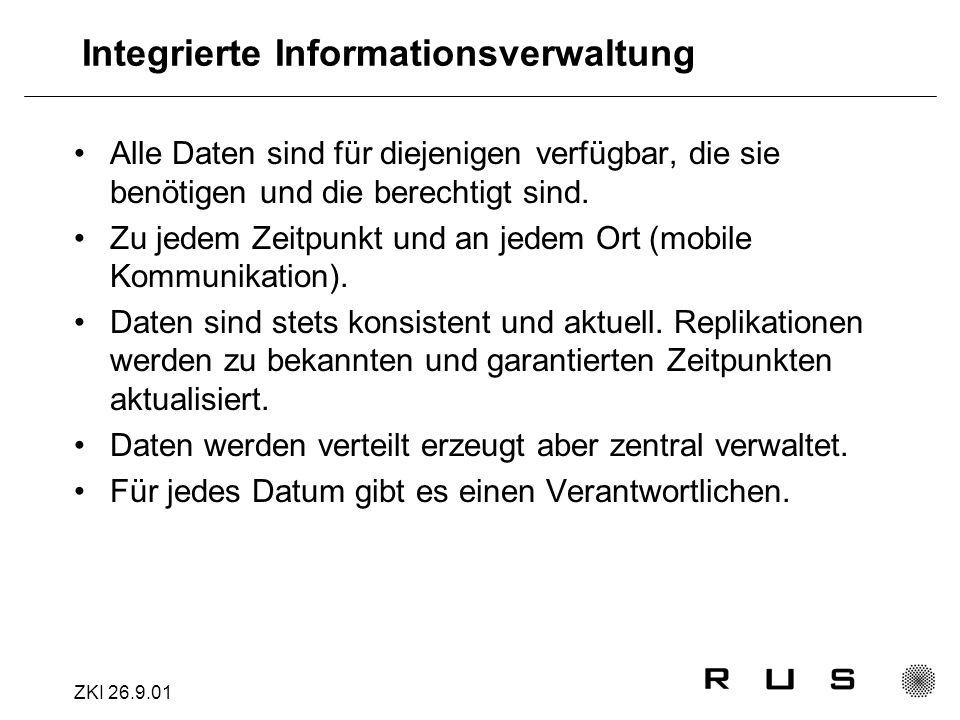 ZKI 26.9.01 Integrierte Informationsverwaltung Alle Daten sind für diejenigen verfügbar, die sie benötigen und die berechtigt sind.
