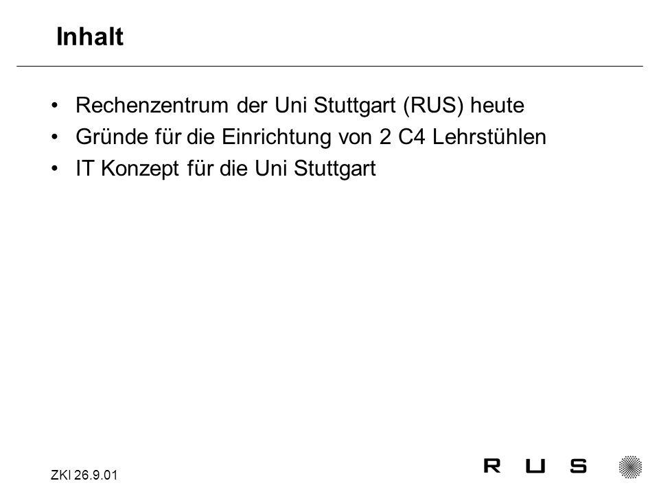 ZKI 26.9.01 Inhalt Rechenzentrum der Uni Stuttgart (RUS) heute Gründe für die Einrichtung von 2 C4 Lehrstühlen IT Konzept für die Uni Stuttgart