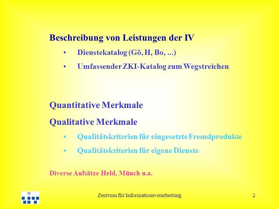 Zentrum für Informationsverarbeitung2 Beschreibung von Leistungen der IV Dienstekatalog (Gö, H, Bo,...) Umfassender ZKI-Katalog zum Wegstreichen Quantitative Merkmale Qualitative Merkmale Qualitätskriterien für eingesetzte Fremdprodukte Qualitätskriterien für eigene Dienste Diverse Aufsätze Held, Münch u.a.