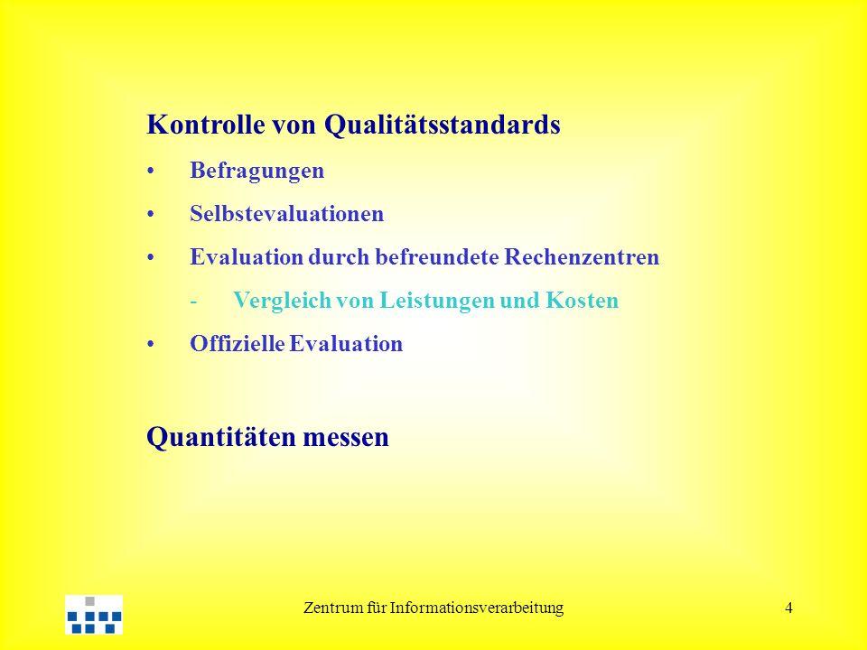 Zentrum für Informationsverarbeitung4 Kontrolle von Qualitätsstandards Befragungen Selbstevaluationen Evaluation durch befreundete Rechenzentren -Vergleich von Leistungen und Kosten Offizielle Evaluation Quantitäten messen