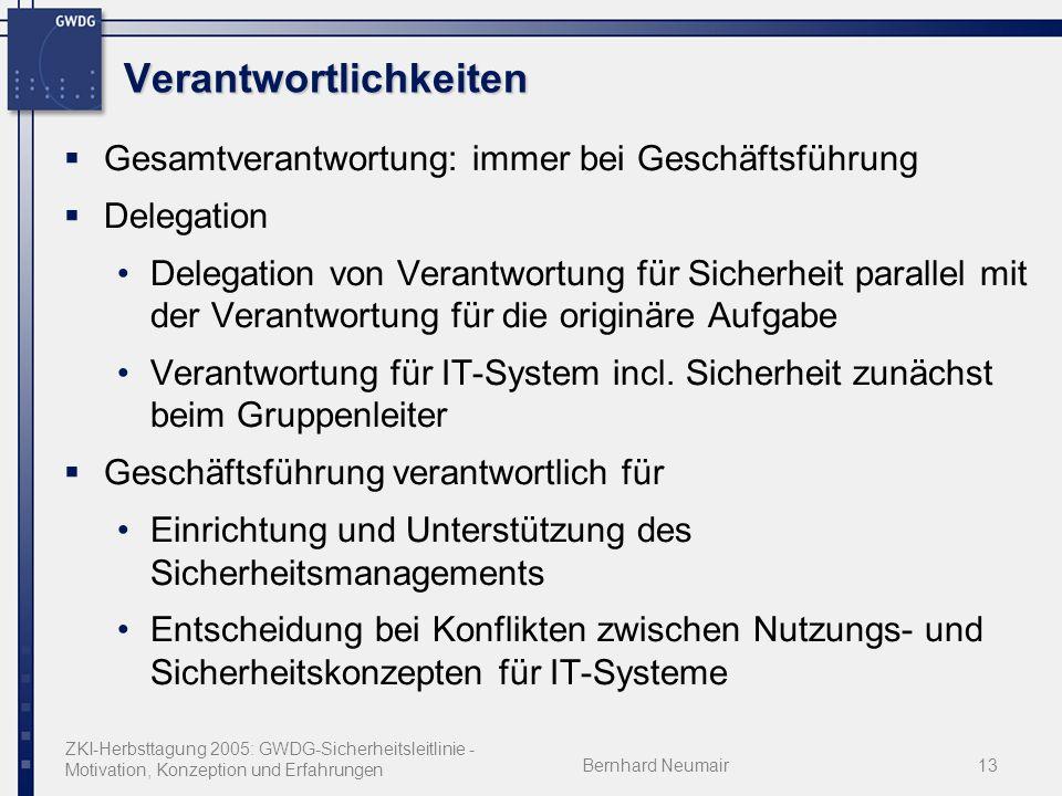 ZKI-Herbsttagung 2005: GWDG-Sicherheitsleitlinie - Motivation, Konzeption und Erfahrungen Bernhard Neumair13 Verantwortlichkeiten Gesamtverantwortung: