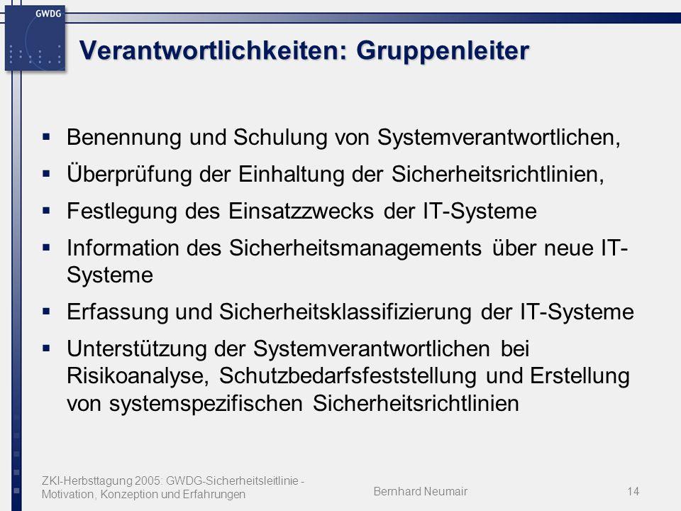 ZKI-Herbsttagung 2005: GWDG-Sicherheitsleitlinie - Motivation, Konzeption und Erfahrungen Bernhard Neumair14 Verantwortlichkeiten: Gruppenleiter Benen