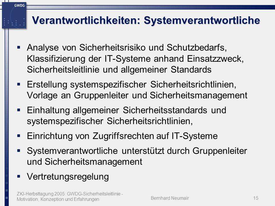 ZKI-Herbsttagung 2005: GWDG-Sicherheitsleitlinie - Motivation, Konzeption und Erfahrungen Bernhard Neumair15 Verantwortlichkeiten: Systemverantwortlic