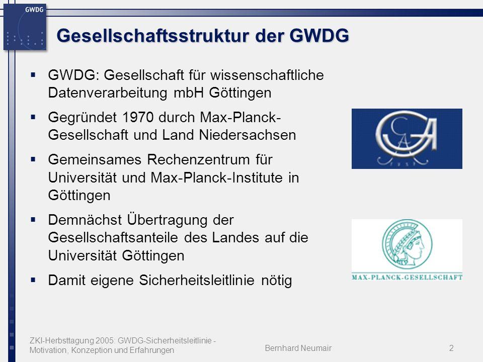 ZKI-Herbsttagung 2005: GWDG-Sicherheitsleitlinie - Motivation, Konzeption und Erfahrungen Bernhard Neumair2 Gesellschaftsstruktur der GWDG GWDG: Gesel