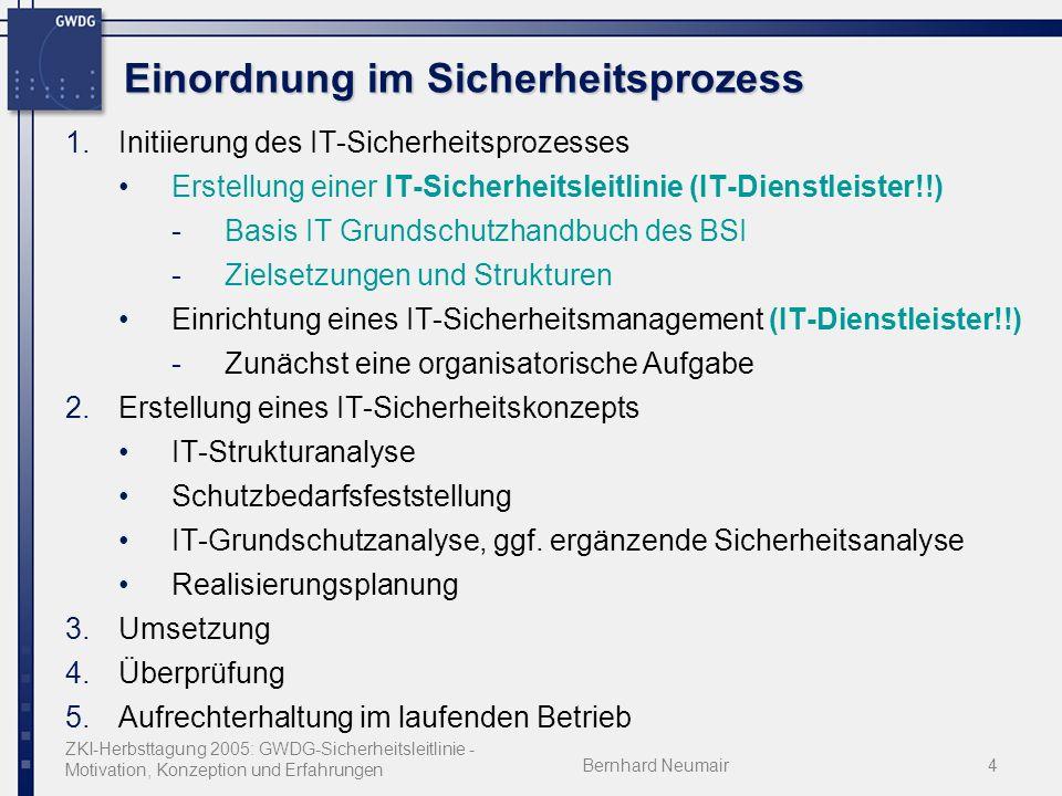 ZKI-Herbsttagung 2005: GWDG-Sicherheitsleitlinie - Motivation, Konzeption und Erfahrungen Bernhard Neumair4 Einordnung im Sicherheitsprozess 1.Initiierung des IT-Sicherheitsprozesses Erstellung einer IT-Sicherheitsleitlinie (IT-Dienstleister!!) -Basis IT Grundschutzhandbuch des BSI -Zielsetzungen und Strukturen Einrichtung eines IT-Sicherheitsmanagement (IT-Dienstleister!!) -Zunächst eine organisatorische Aufgabe 2.Erstellung eines IT-Sicherheitskonzepts IT-Strukturanalyse Schutzbedarfsfeststellung IT-Grundschutzanalyse, ggf.