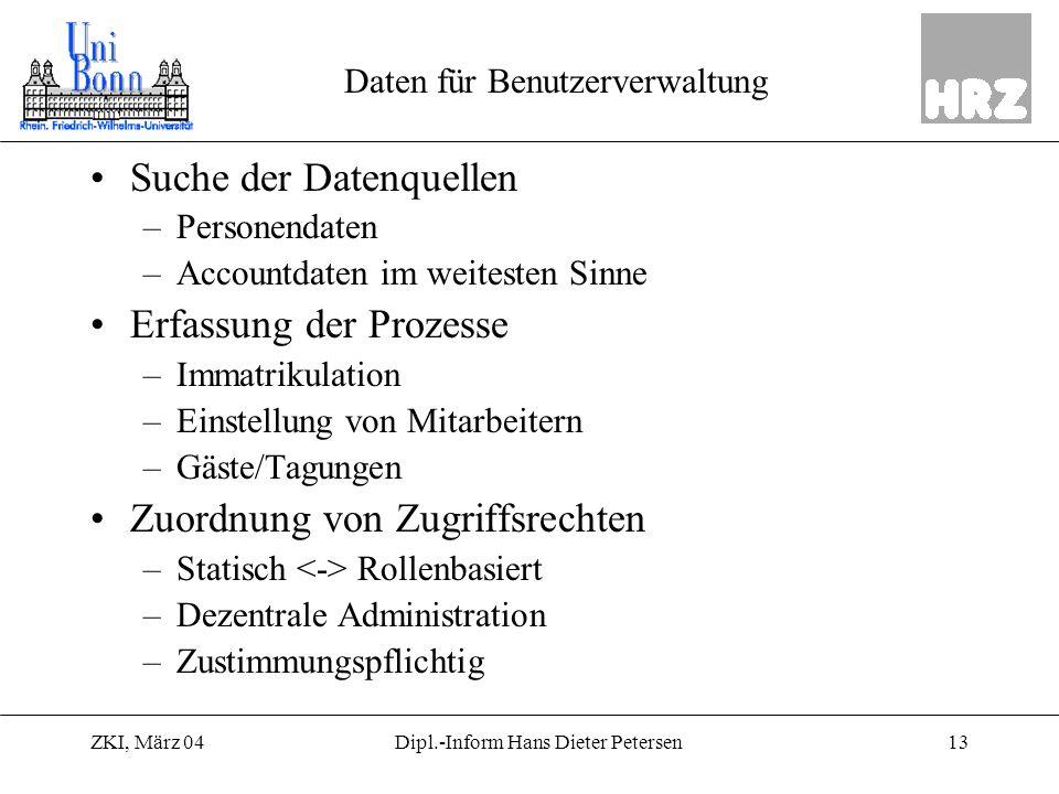 ZKI, März 0413Dipl.-Inform Hans Dieter Petersen Daten für Benutzerverwaltung Suche der Datenquellen –Personendaten –Accountdaten im weitesten Sinne Er