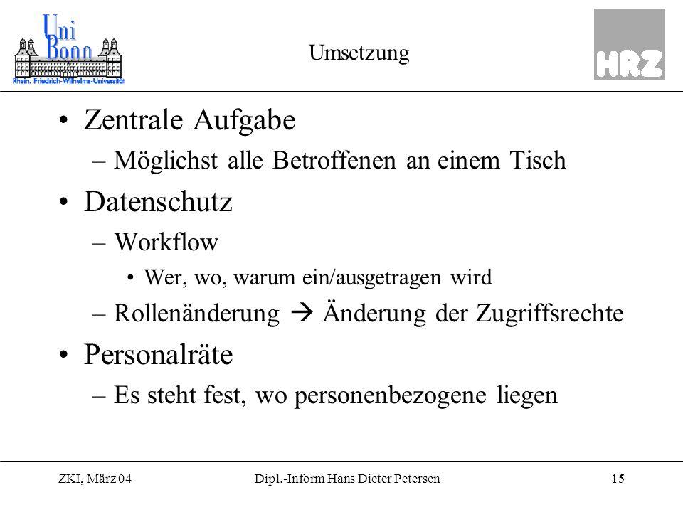 ZKI, März 0415Dipl.-Inform Hans Dieter Petersen Umsetzung Zentrale Aufgabe –Möglichst alle Betroffenen an einem Tisch Datenschutz –Workflow Wer, wo, w