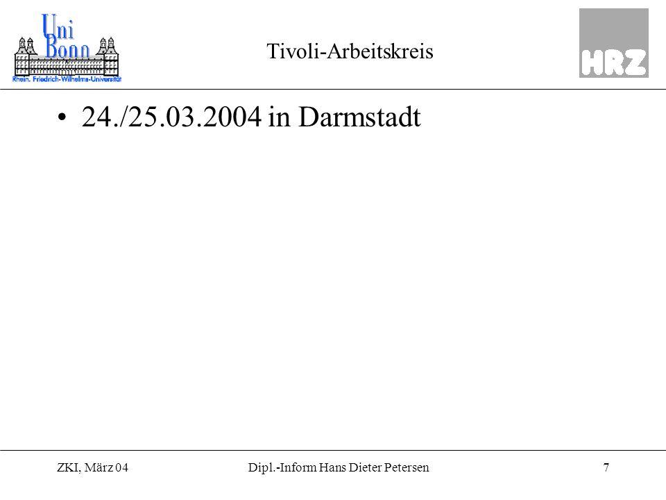 ZKI, März 048Dipl.-Inform Hans Dieter Petersen Benutzerverwaltung Seit 1975 Benutzerverwaltung –Für MVS und TSO Einsatz bis 1999 –Für MVS/TSO/VM mit 3000 Nutzern Benutzerverwaltung 2000 –Für AFS/AIX mit 25.000 Nutzern Benutzerverwaltung 2004