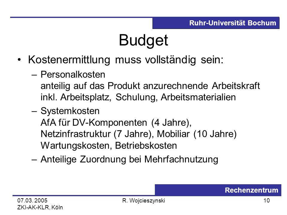 Ruhr-Universität Bochum Rechenzentrum 07.03. 2005 ZKI-AK-KLR, Köln R. Wojcieszynski10 Budget Kostenermittlung muss vollständig sein: –Personalkosten a