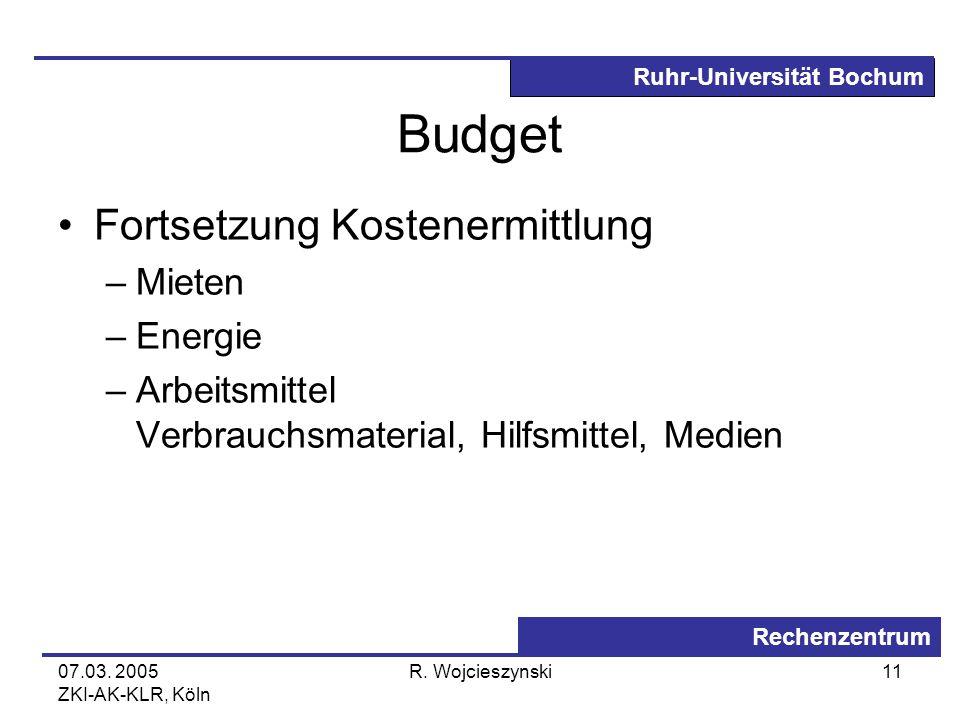 Ruhr-Universität Bochum Rechenzentrum 07.03. 2005 ZKI-AK-KLR, Köln R. Wojcieszynski11 Budget Fortsetzung Kostenermittlung –Mieten –Energie –Arbeitsmit