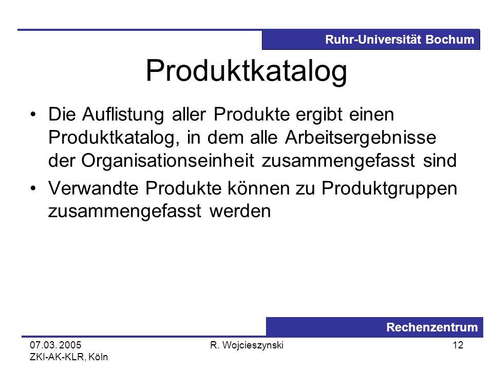 Ruhr-Universität Bochum Rechenzentrum 07.03. 2005 ZKI-AK-KLR, Köln R. Wojcieszynski12 Produktkatalog Die Auflistung aller Produkte ergibt einen Produk