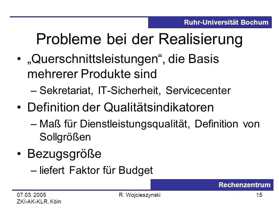 Ruhr-Universität Bochum Rechenzentrum 07.03. 2005 ZKI-AK-KLR, Köln R. Wojcieszynski15 Probleme bei der Realisierung Querschnittsleistungen, die Basis