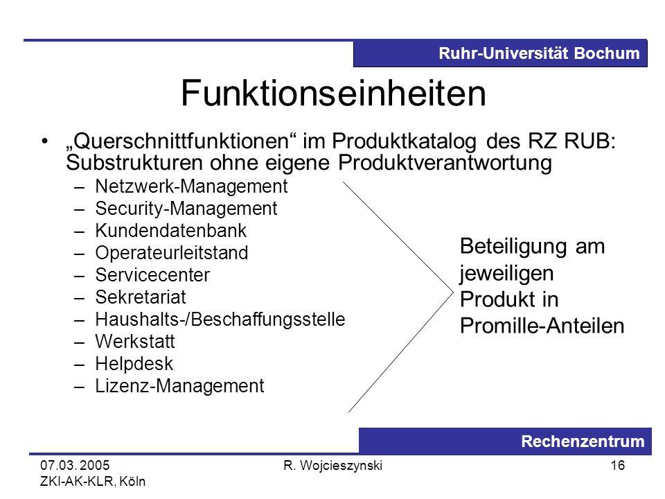 Ruhr-Universität Bochum Rechenzentrum 07.03. 2005 ZKI-AK-KLR, Köln R. Wojcieszynski16 Funktionseinheiten Querschnittfunktionen im Produktkatalog des R