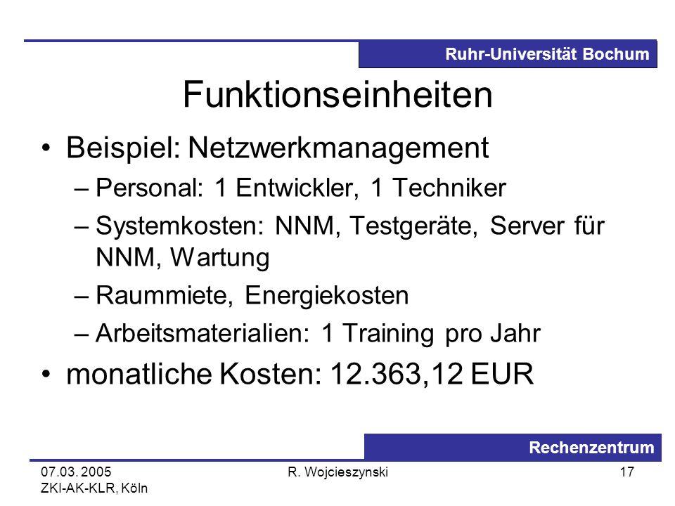 Ruhr-Universität Bochum Rechenzentrum 07.03. 2005 ZKI-AK-KLR, Köln R. Wojcieszynski17 Funktionseinheiten Beispiel: Netzwerkmanagement –Personal: 1 Ent