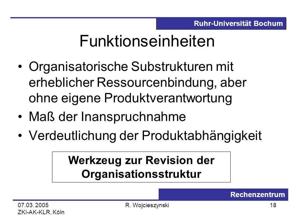 Ruhr-Universität Bochum Rechenzentrum 07.03. 2005 ZKI-AK-KLR, Köln R. Wojcieszynski18 Funktionseinheiten Organisatorische Substrukturen mit erhebliche