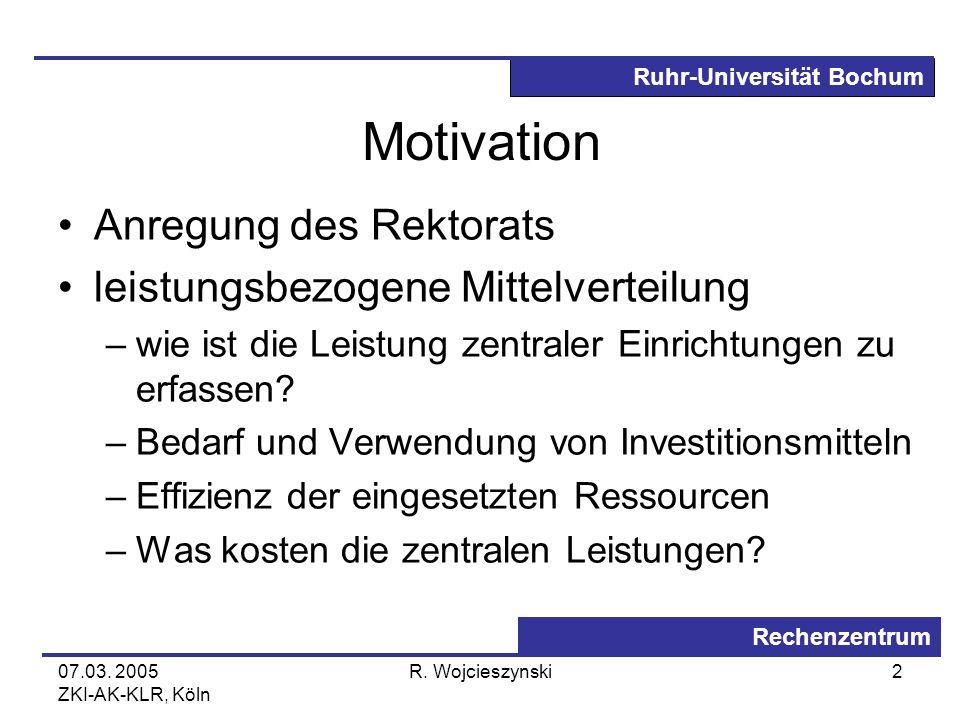 Ruhr-Universität Bochum Rechenzentrum 07.03. 2005 ZKI-AK-KLR, Köln R. Wojcieszynski2 Motivation Anregung des Rektorats leistungsbezogene Mittelverteil