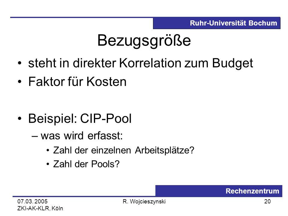 Ruhr-Universität Bochum Rechenzentrum 07.03. 2005 ZKI-AK-KLR, Köln R. Wojcieszynski20 Bezugsgröße steht in direkter Korrelation zum Budget Faktor für