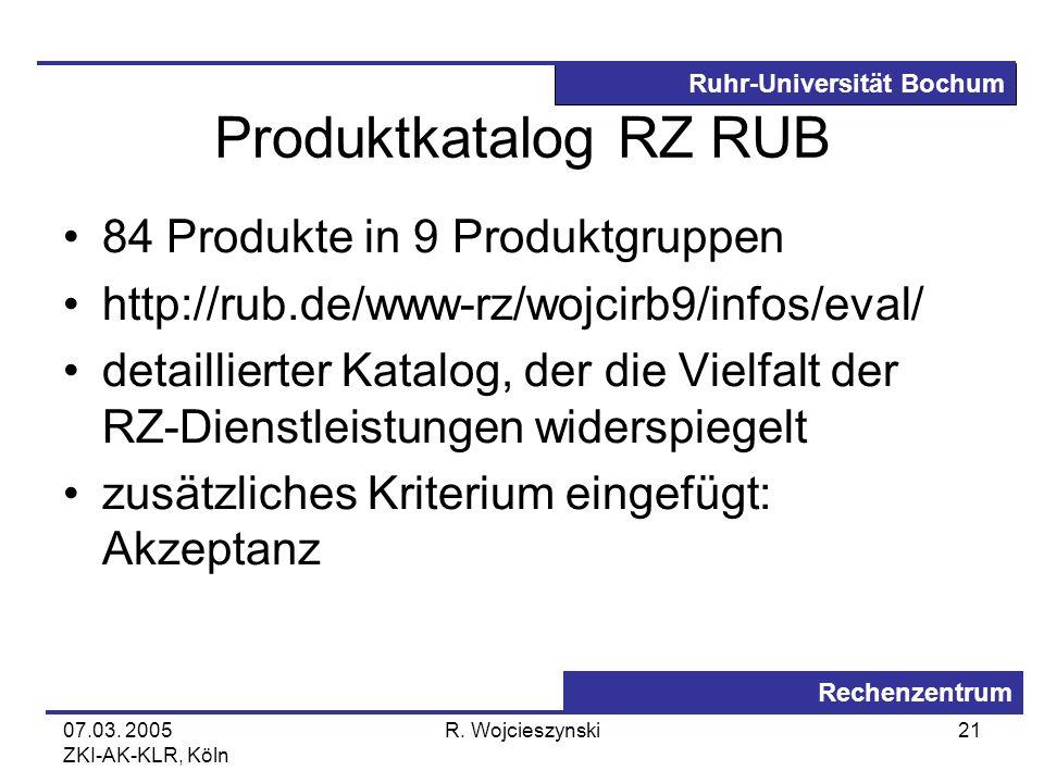 Ruhr-Universität Bochum Rechenzentrum 07.03. 2005 ZKI-AK-KLR, Köln R. Wojcieszynski21 Produktkatalog RZ RUB 84 Produkte in 9 Produktgruppen http://rub