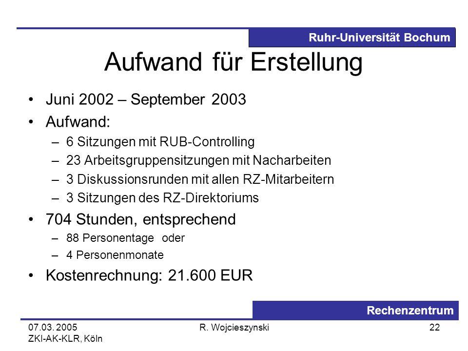 Ruhr-Universität Bochum Rechenzentrum 07.03. 2005 ZKI-AK-KLR, Köln R. Wojcieszynski22 Aufwand für Erstellung Juni 2002 – September 2003 Aufwand: –6 Si