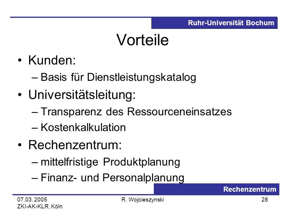 Ruhr-Universität Bochum Rechenzentrum 07.03. 2005 ZKI-AK-KLR, Köln R. Wojcieszynski28 Vorteile Kunden: –Basis für Dienstleistungskatalog Universitätsl