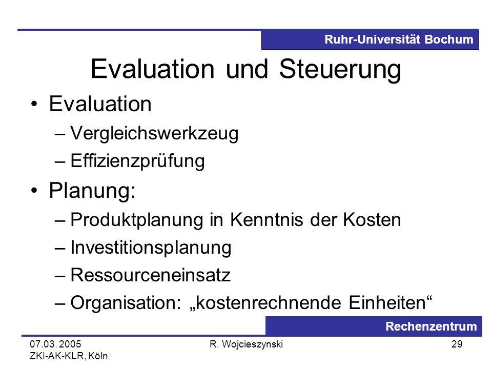 Ruhr-Universität Bochum Rechenzentrum 07.03. 2005 ZKI-AK-KLR, Köln R. Wojcieszynski29 Evaluation und Steuerung Evaluation –Vergleichswerkzeug –Effizie