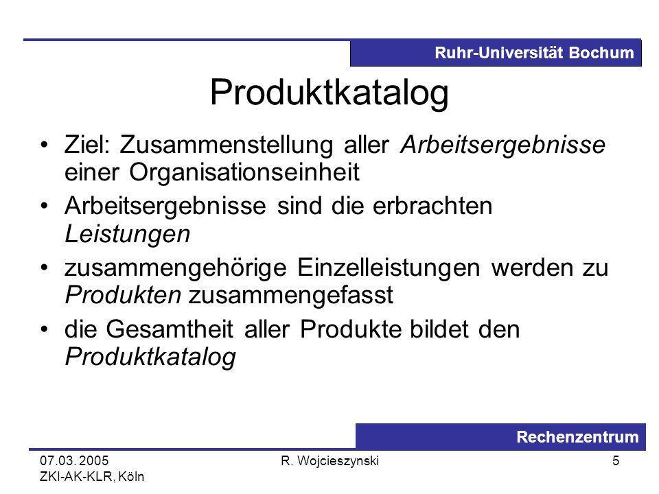 Ruhr-Universität Bochum Rechenzentrum 07.03. 2005 ZKI-AK-KLR, Köln R. Wojcieszynski5 Produktkatalog Ziel: Zusammenstellung aller Arbeitsergebnisse ein